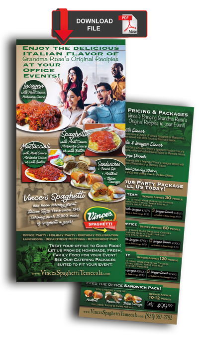 Vinces Spaghetti Office Catering Packages