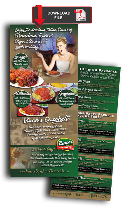 Vinces Spaghetti Wedding Catering Packages
